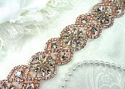 "Iron On Trim Rose Gold Beaded Glass Crystal Rhinestone Bridal Banding 1.5"" (DH62-rsglcr)"