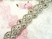 "Trim Silver Beaded Glass Crystal Rhinestone Bridal Banding 1.5"" X 34"" (DH62)"