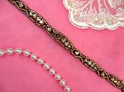 "Black Backing Trim Rose Gold Beaded Crystal Clear Rhinestone Petite Thin .25"" (DH63-bkcrrsgl)"