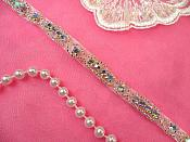 "Iridescent Rhinestone Trim Silver Beaded Crystal AB Aurora Borealis Stones Petite Thin .25"" (DH63-slcab)"