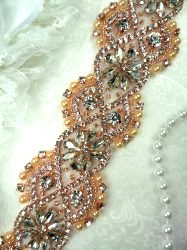DH64 Crystal Glass Rhinestone Trim Clear Rose Gold Settings Pearls And Beads Iron On 2""