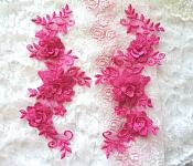 "3D Lace Appliques Fuchsia Floral Embroidered Mirror Pair 10.5"" (DH65X)"
