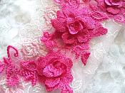 """3D Lace Appliques Fuchsia Floral Embroidered Mirror Pair 10.5"""" (DH65X)"""