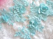 """3D Lace Appliques Lt. Turquoise Floral Embroidered Mirror Pair 10.5"""" (DH65X)"""
