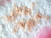 "3D Lace Appliques Peach Floral Embroidered Mirror Pair 10.5"" (DH65X)"