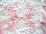 "3D Lace Appliques Pink Floral Embroidered Mirror Pair 10.5"" (DH65X)"