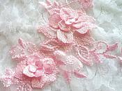 """3D Lace Appliques Pink Floral Embroidered Mirror Pair 10.5"""" (DH65X)"""