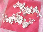 RMDH65X REDUCED 3D Lace Appliques White Floral Embroidered Mirror Pair 10.5""