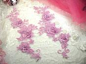 "3D Lace Appliques Lavender Floral Embroidered Mirror Pair Dance Costume Motifs 10.5"" (DH65X)"