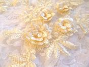 """3D Embroidered Lace Appliques Buttercream Lt. Yellow Floral Venice Lace Mirror Pair 8.25"""" Beautiful (DH68X)"""