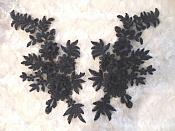 OSDH68  (RIGHT SIDE ONLY)  3D Embroidered Lace Applique Black Floral Venice Lace 8.25""