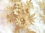 """3D Embroidered Appliques Gold Beige Floral Venice Lace Mirror Pair 8.25"""" Beautiful (DH68X)"""