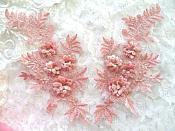 "3D Embroidered Lace Appliques Mauve Floral Venice Lace Mirror Pair 8.25"" Beautiful (DH68X)"