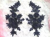 "3D Embroidered Lace Appliques Navy Blue Floral Venice Lace Mirror Pair 8.25"" Beautiful (DH68X)"