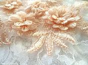 """3D Embroidered Lace Appliques Peach Floral Venice Lace Mirror Pair 8.25"""" Beautiful (DH68X)"""