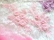 "REDUCED 3D Embroidered Lace Appliques Pink Floral Venice Lace Mirror Pair 8.25"" Beautiful (RMDH68X)"