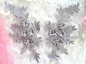 "3D Embroidered Lace Appliques Pewter Silver Floral Venice Lace Mirror Pair 8.25"" Beautiful (DH68X)"