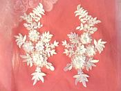 "3D Embroidered Lace Appliques Snow White Floral Venice Lace Mirror Pair 8.25"" Beautiful (DH68X)"