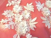 """3D Embroidered Lace Appliques Snow White Floral Venice Lace Mirror Pair 8.25"""" Beautiful (DH68X)"""