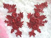 "3D Embroidered Lace Appliques Wine Brick Red Floral Venice Lace Mirror Pair 8.25"" Beautiful (DH68X)"