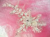 "Embroidered 3D Applique Ivory Floral Sequin Patch Rhinestone Center 14"" (DH70)"