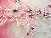 """Embroidered 3D Applique Pink Floral Sequin Patch Rhinestone Center 14"""" (DH70)"""
