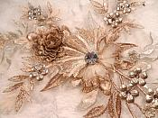 """Embroidered 3D Applique Rose Gold Champagne Floral Sequin Patch Rhinestone Center 14"""" (DH70)"""