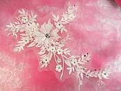 "Embroidered 3D Applique Antique White Floral Sequin Patch Rhinestone Center 14"" (DH70)"