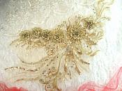 "Embroidered 3D Applique Light Gold Floral Sequin Patch Rhinestone Accented 20"" (DH71)"