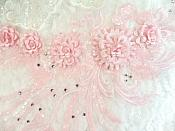 """Embroidered 3D Applique Pink Floral Sequin Patch Rhinestone Accented 20"""" (DH71)"""