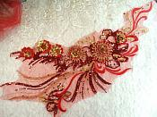 "Embroidered 3D Applique Red Gold Floral Sequin Patch Rhinestone Accented 20"" (DH71)"