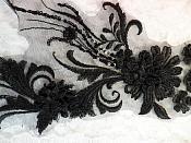 "Embroidered 3D Applique Black Floral Sequin Patch  13"" (DH72)"
