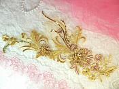 "Embroidered 3D Applique Bronze Gold Floral Sequin Patch  13"" (DH72)"