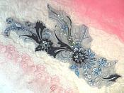 "Embroidered 3D Applique Denim Navy Blue Floral Sequin Patch  13"" (DH72)"