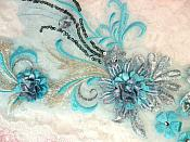 "Embroidered 3D Applique Light Turquoise Floral Sequin Patch  13"" (DH72)"