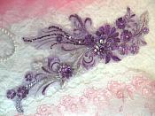 "Embroidered 3D Applique Purple Floral Sequin Patch  13"" (DH72)"