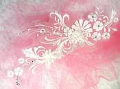 """Embroidered 3D Applique White Floral Sequin Patch  13"""" (DH72)"""