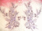 "Embroidered 3D Appliques Lavender Floral Mirror Pair Fabulous Detail 13"" (DH76X)"
