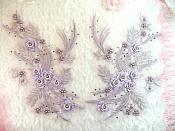 "Embroidered 3D Appliques Lavender Floral Mirror Pair Fabulous Detail 13"" (DH76X)"