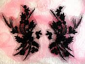 "Embroidered 3D Appliques Black Floral Mirror Pair Fabulous Detail 13"" (DH76X)"