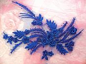"""Embroidered 3D Appliques Royal Blue Floral Mirror Pair Fabulous Detail w/ Pearls 13"""" (DH76X)"""