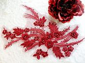 """Embroidered 3D Appliques Burgundy Wine Floral Mirror Pair Fabulous Detail w/ Pearls 13"""" (DH76X)"""