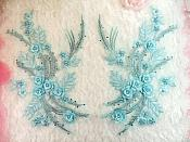 "Embroidered 3D Appliques Light Blue Floral Mirror Pair Fabulous Detail w/ Pearls 13"" (DH76X)"
