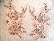 "Embroidered 3D Appliques Pink Taupe Floral Mirror Pair Fabulous Detail w/ Pearls 13"" (DH76X)"