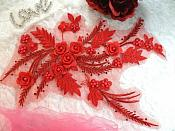 """Embroidered 3D Appliques Red Floral Mirror Pair Fabulous Detail w/ Pearls 13"""" (DH76X)"""