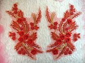 "Embroidered 3D Appliques Red Gold Metallic Floral Mirror Pair Fabulous Detail w/ Pearls 13"" (DH76X)"