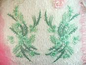 "Embroidered 3D Appliques Sea foam Green Floral Mirror Pair Fabulous Detail w/ Pearls 13"" (DH76X)"