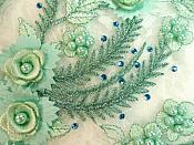 "Embroidered 3D Appliques Sea foam Green Floral Mirror Pair Fabulous Detail w/ Pearls 13"" (DH76X)"