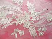 "Embroidered 3D Appliques White Floral Mirror Pair Fabulous Detail 13"" (DH76X)"