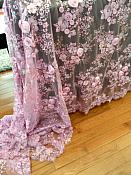Embroidered 3D Applique Fabric Lavender Floral Intricate Design  (DH77)
